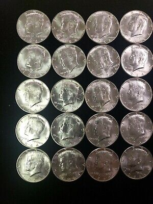 Lot of 20, 1964 BU Kennedy Half dollars 90% Silver $10 face.