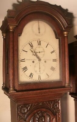 """Antique Carved Oak  """"  Hastings  """"  8 Day  Longcase / Grandfather  Clock"""
