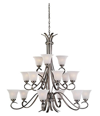 Sea Gull Lighting 31363-965 Fifteen-Light Rialto Chandelier with Etched White Al