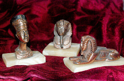 Vintage Bronze Egyptian Nefertiti/Ramesses/Sphinx 3 Statues On Marble Base