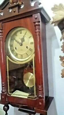 VINTAGE 1980s LINCOLN WALL MECHANICAL WIND UP STRIKING PENDULUM CLOCK
