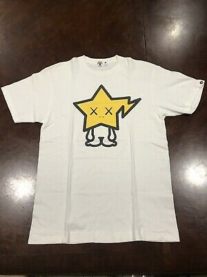 036ede40 Bape X Kaws Baby Milo Tee Shirt Size Medium White Yellow Bapesta A Bathing  Ape