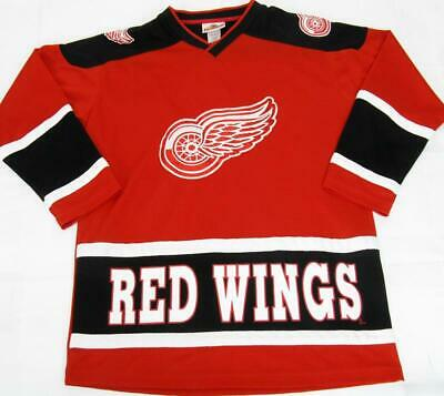 Vtg Detroit Red Wings SEWN Crest NHL Hockey Jersey Youth Boys L/XL 14-16