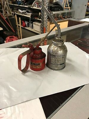 Pair of Vintage Oil Cans Pressol 810/1 & Eagle 28 Series Pump Oilers. Free Ship