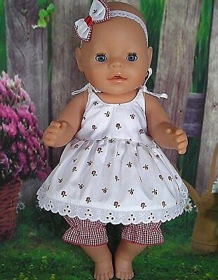 "Dolls clothes for 17"" Baby Born doll~LITTLE RED FLOWER STRAP DRESS~BLOOMERS~BOW"
