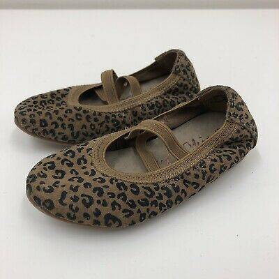 Next Girls Brown Leopard Print Flat Mary Jane Style Ballet Pumps Shoes UK Size 5
