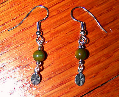 New! Stunning Silver Plated Oval Burst Charm with Green Bead Earrings