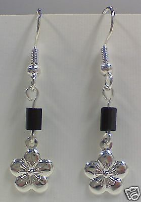 New! Stunning Silver Plated Flower with Black Bead Earrings