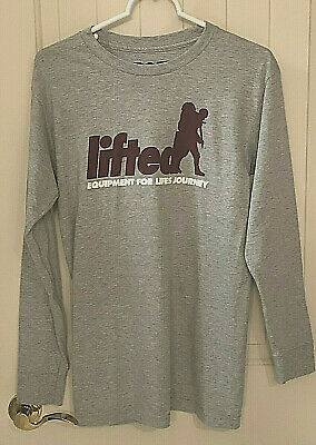 LRG Lifted Research Group T Shirt NWT Small Cotton Poly Gray Long Sleeve 19W3