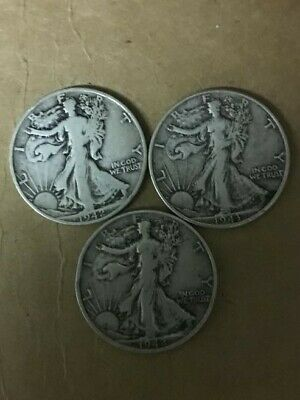 Three Walking Liberty Half Dollars   1-1943    2-1942S