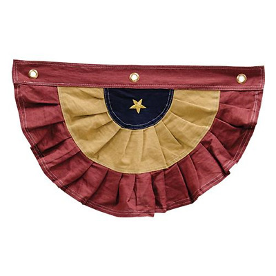 "100% Cotton Country Patriotic 20"" Burgundy & Gold Tea Stained Americana Bunting"