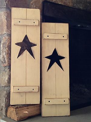 "Primitive Country Rustic Handmade 24"" Distressed Antique Ivory Star Shutter Set"