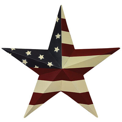"""Primitive Farmhouse Red/White/Blue Patriotic 12"""" Metal Hanging Wall Flag Star"""
