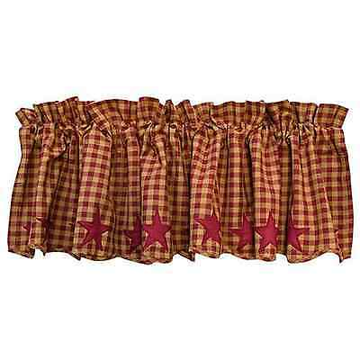 Primitive Country Rustic Burgundy Star Scalloped Curtain Valance