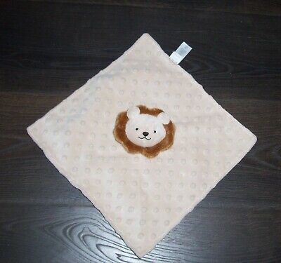 The Childrens Place Tan Brown Lion Baby Blanket Minky Dot Satin Back TCP Lovey