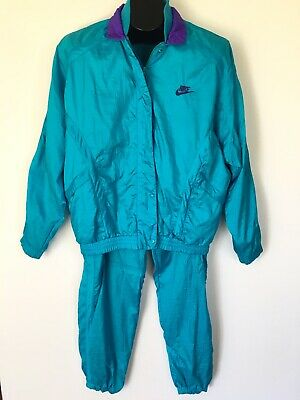 Vtg Nike Nylon Windbreaker Tracksuit Size S Teal Purple Jacket Pants Hip Hop