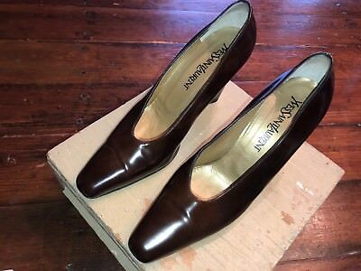 b982ff16b YVES SAINT LAURENT YSL Slip On Brown Pumps Heels Leather Made Italy Women 8