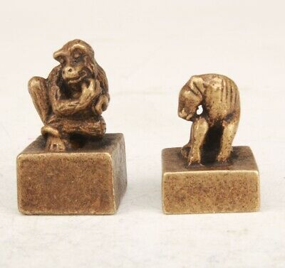 2 Unique Chinese Bronze Hand Carved Monkey Horse Seal Decoration Collection Gift
