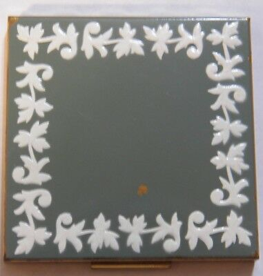 Vintage Sage Green & White Enamel Brass Compact by American Beauty