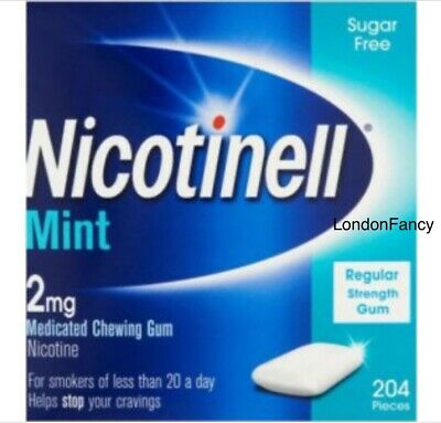 Nicotinell Mint Medicated Chewing Gum 2mg, 204 Pieces. Sugar Free.