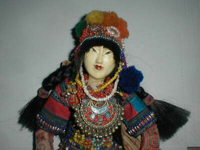 Antique Chinese 18 Opera Doll BEADED DRESS Stained Glass Door Hope Mission ? VTG
