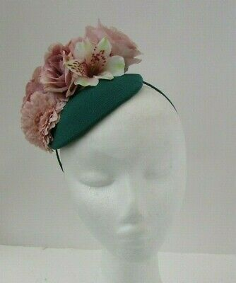 Jade Green Light Nude Blush Pink Flower Feather Hat Fascinator Floral Races 7129