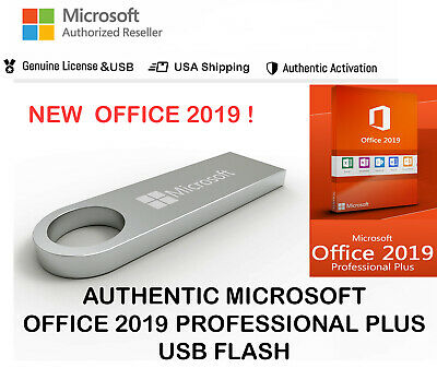 New Authentic Microsoft Office 2019 Professional Plus 32 64 Bit SEALED USB BOX