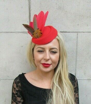 Red Brown Pheasant Feather Pillbox Hat Fascinator Races Hair Clip Ascot 7133