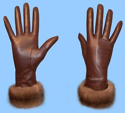 New WOMENS size 6.5 BROWN LEATHER GLOVES-RABBIT FUR LINED-RANCHED MINK FUR TRIM
