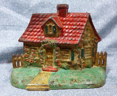 """Antique National Foundry """"Cottage with Picket Fence"""" Cast Iron Door Stop"""