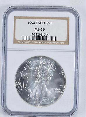 MS69 1994 American Silver Eagle - Graded NGC *010