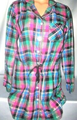 Victorias Secret Signature Flannel Pajamas Night Gown Sleep Shirt NWT XS