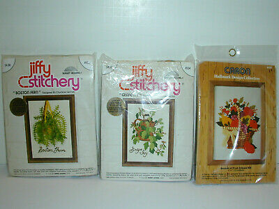 2 Jiffy Stitchery & 1 Caron Crewel Embroidery Kits SEALED