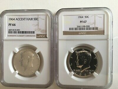 1964 Accent Hair Kennedy Half Dollar 50C  Ngc Certified Proof 66 + 1964 Pf 67