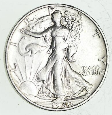 XF+ 1940-S Walking Liberty 90% Silver US Half Dollar - NICE COIN *843