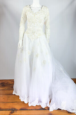Alfred Angelo Wedding Dress Vintage Size 8 Long Sleeve Beaded Sequin Lace 1980's