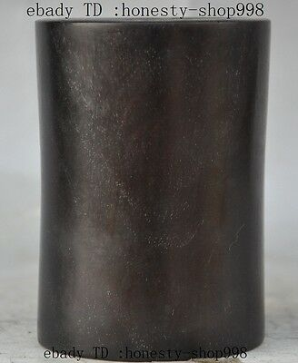 """4""""Old Chinese palace Nobility Rosewood wood hand-carved Brush Pot pencil vase"""