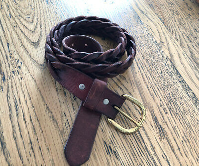 BELT LEATHER Reddish Brown plait braided solid brass buckle full grain hide