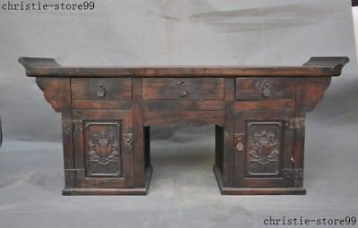 "26""Chinese Huanghuali Wood Hand Carved Ancient Lockers cabinet drawer desk table"