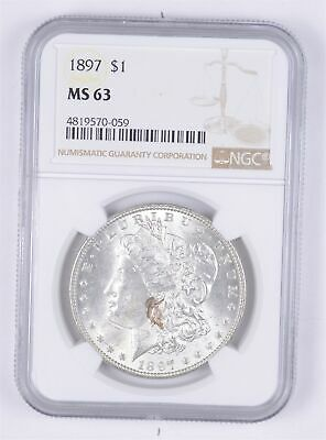 Choice Unc 1897 Morgan Silver Dollar - Graded NGC - MS-63 *750