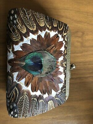 Peacock Feather Vintage Purse Gorgeous Hand Decorated Purse
