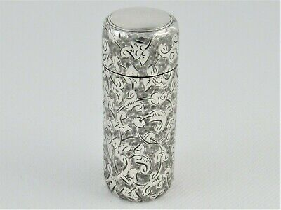 Antique Engraved Victorian Silver Cased Perfume Bottle With Stopper London 1884