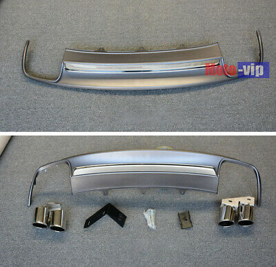 S4 Style Valance Matte Black Rear Diffuser w//Exhaust tip for 17+Audi A4 B9 Sedan