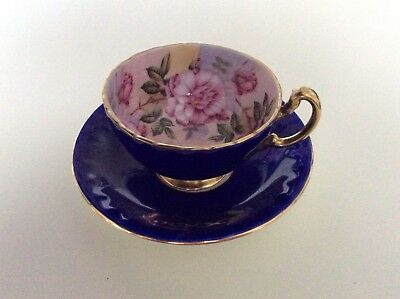 Aynsley China England Large Cabbage Roses on Cobalt Blue Tea Cup and Saucer