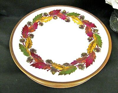 LIMOGES FRANCE painted acorn leaves foliage gold gilt set of  dinner plates
