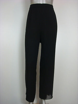 EUC R&M Richards Women's Sheer Overlay Wide Leg Dress Pants Black 16