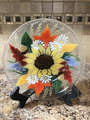 """Peggy Karr Fused Art Glass Plate  Sunflower Autumn Leaves 7 7/8"""" Signed"""