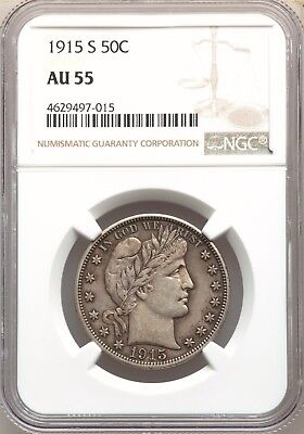 1915-S NGC AU55 Barber Silver Half Dollar Nice Type Coin About Uncirculated