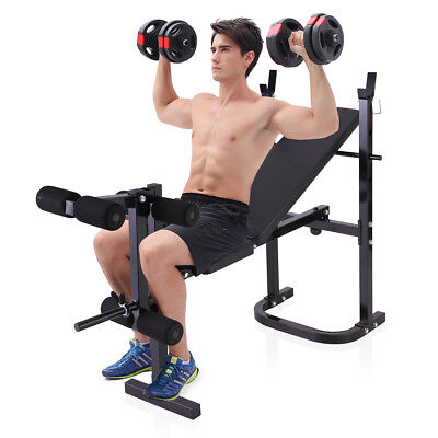 Adjustable Weight Bench Barbell Incline Flat Lifting Workout Body New