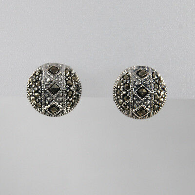 Marcasite Stud Vintage Art Deco Style Earrings 925 Sterling Silver Round 13mm